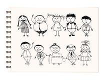 stora den lyckliga teckningsfamiljen skissar att le tillsammans Royaltyfri Bild