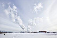 Stora Enso Imatran Paper Mill Finland saimaa lake winter. Blue sky stock images