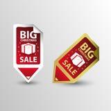 Stora etiketter för klistermärke för Sale julrektangel vektor Arkivfoto