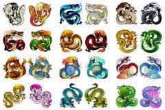 Stora färga asiatisk drake för uppsättning 24 royaltyfri illustrationer
