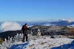 Stora Fatra berg - solig dag i tidig vinter Fotografering för Bildbyråer