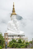 Stora fem sittande Buddhastatyer i en mist, Thailand Royaltyfri Bild