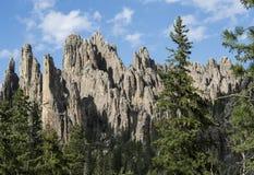 Stora granitbildande i Custer State Park, South Dakota, domkyrkatornspiror arkivfoto