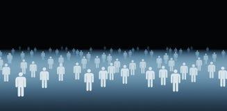 Stora grupp människorsymboler på svart bakgrund, samkväm vektor illustrationer