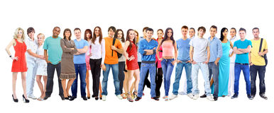 Stora gruppstudenter. Över vit bakgrund Royaltyfria Bilder