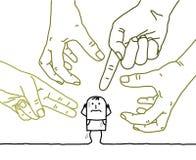 Stora händer med tecknad filmteckenet - agression och paranoia stock illustrationer