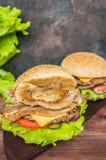 Stora hamburgare- och fransmansmåfiskar på en trätabell i lantlig stil Royaltyfria Foton