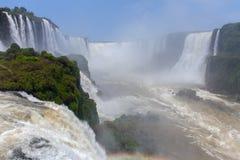 Stora Iguazu Falls Naturlig under av världen Arkivfoto