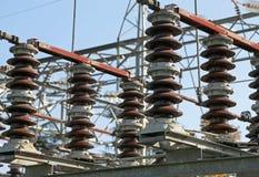 stora industriella strömbrytare i den elektriska avdelningskontoret Fotografering för Bildbyråer