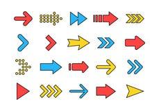 Stora kulöra fastställda symboler för pilar Pilsymbol Pilvektorsamling arrowheaden markör Moderna enkla pilar också vektor för co royaltyfri illustrationer