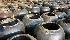 Stora lerakrukor som står i rader i Myanmar Royaltyfri Bild