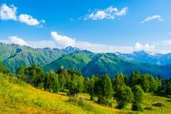 stora liggandebergberg Kaukasus Svanetia, Ushguli, Ushba, Georgia Fotografering för Bildbyråer