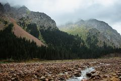 stora liggandebergberg Tien Shan Dalen av floden lämnade Talgar kazakhstan royaltyfri bild