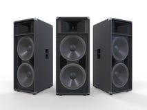 Stora ljudsignalhögtalare på vitbakgrund Arkivfoto