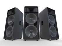 Stora ljudsignalhögtalare på vitbakgrund arkivfoton