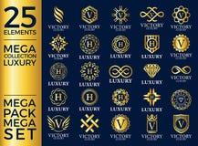 Stora Logo Template Vector Design för uppsättning för lyx kungliga och eleganta, stock illustrationer