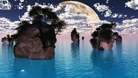Stora måne och holmar royaltyfri illustrationer