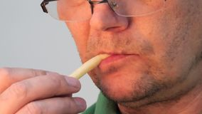 Stora munkanter äta fransman steker mannen stock video