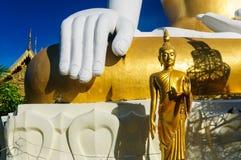 Stora och små Buddhastatyer på Wat Doi Kham arkivfoto
