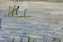 Stora penseldrag av blå olje- målarfärg på kanfas möjliga projekt för konstbakgrundsinternet som ska användas Royaltyfri Fotografi