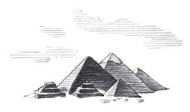 Stora pyramider av Egypten royaltyfri illustrationer