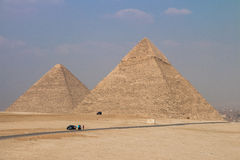 Stora pyramider av Gizah i Kairo, Egypten Arkivbild