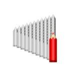 Stora röda blyertspennablytakgrå färger Royaltyfri Bild