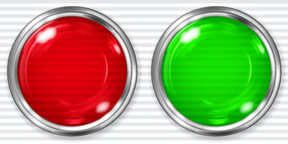 Stora röda och gröna genomskinliga knappar Royaltyfria Foton