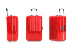 Stora röda Polycarbonateresväskor Arkivfoto