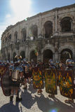 Stora romarelekar i Nimes, Frankrike Arkivbild