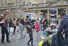 Stora såpbubblor Royaltyfri Fotografi