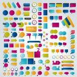 Stora samlingar av beståndsdelar för infographicslägenhetdesign stock illustrationer