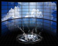 Stora skärmar med molnet Royaltyfria Bilder