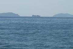 Stora skepp i golfen Arkivbild