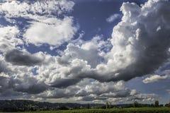Stora stackmolnmoln i en ljus blå himmel över en frodig gräsplan betar  fotografering för bildbyråer