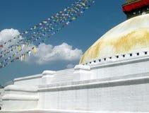 Stora Stupa av den Boudhanath Katmandu Nepal detaljen Arkivbild
