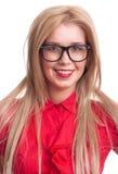 stora svarta blonda exponeringsglas som ler kvinnan Fotografering för Bildbyråer