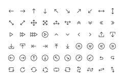 Stora svarta fastställda symboler för pilar i linjen stil Pilsymbol Pilvektorsamling arrowheaden mark?r Moderna enkla pilar vekto vektor illustrationer
