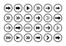 Stora svarta fastställda symboler för pilar Pilsymbol Pilvektorsamling arrowheaden markör Moderna enkla pilar också vektor för co vektor illustrationer