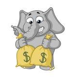 Stora tecken för samlingsvektortecknad film av elefanter på en isolerad bakgrund mycket pengar Hållpåsar med pengar stock illustrationer