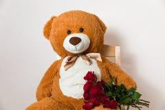 Stora Teddy Bear som rymmer den röda rosa buketten, romantisk gåvaöverraskning, valentindag, årsdag, förälskelse arkivbild