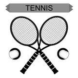 Stora tennisracket med tennisbollen Fotografering för Bildbyråer