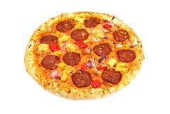 stora tomater för ostpizzasalami Royaltyfri Fotografi