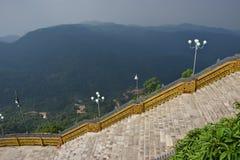 Stora trappor i mitt av den bergiga bergiga djungeln Royaltyfri Bild