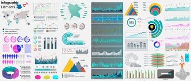Stora uppsättninginfographicsbeståndsdelar! Vektor stock illustrationer