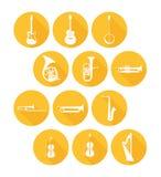 Stora uppsättningsymboler av musikinstrument Fotografering för Bildbyråer
