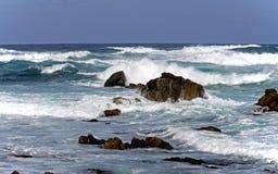 Stora vågor, 17 Miles Drive, Kalifornien, USA Arkivbild