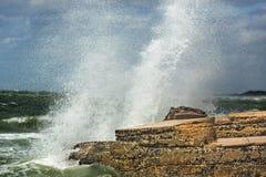 Stora vågor som kraschar in i, fördärvar av det Bigelow batteriet, Florida Royaltyfri Foto