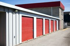 Storage. Red storage doors ,  facility background