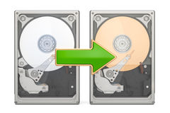 Storage backup concept with HDD, 3D rendering Royalty Free Stock Images
